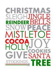FREE Christmas Printables. You could print large prints and frame for cheap Christmas decoration