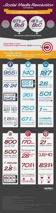 The Social Media Revolution Infographic Marketing Digital, E-mail Marketing, Online Marketing, Social Media Marketing, Info Board, Social Media Trends, Social Media Site, Web Social, Social Business