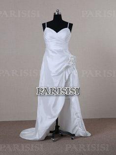 Asimétrico Espaguetis Tira Tribunal Tren Tafetán Blanco vestidos de novia