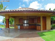 outdoor cabana with bathroom | Ocean View Maui Home with Infinity Pool in the Gated Community of ...
