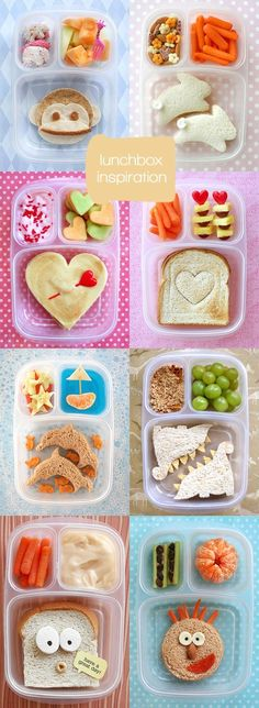 Lunch box inspirations #kids It's amazing how much better a picky eater eats when the food is fun.  ;-)