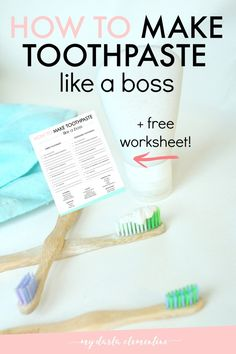 Everything you need to customize the BEST homemade toothpaste recipe for your family!  2 formulas to choose from + loads of natural ingredients and their oral health benefits + a free printable worksheet to help you diy toothpaste like a boss! Click through to grab the free worksheet!