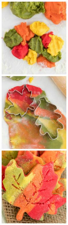 These Fall Leaf Cut Out Cookies are a fun way to celebrate the coming of fall. Colorful cookie dough and sanding sugar makes these a pretty cookie to enjoy all Fall season. Thanksgiving Cookies, Fall Cookies, Cut Out Cookies, Holiday Cookies, Leaf Cookies, Beaux Desserts, Fall Desserts, Cookie Desserts, Cookie Recipes