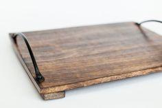 Деревянный поднос из манго с винтажными ручками | Лес домой