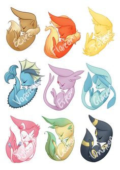 Pokemon Stickers Eevee Evolutions by Grandifloru on Etsy