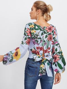 Shop Bishop Sleeve Tie Back Mixed Print Top online. SheIn offers Bishop Sleeve Tie Back Mixed Print Top & more to fit your fashionable needs. Blouse Styles, Blouse Designs, Red Blouses, Blouses For Women, Girl Fashion, Fashion Outfits, Fashion Spring, Sexy Blouse, Bishop Sleeve