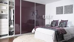 fitted sliding wardrobe doors in aubergine high gloss Bedroom Cupboard Designs, Wardrobe Design Bedroom, Bedroom Cupboards, Girl Bedroom Designs, Bedroom Ideas, Bedroom Inspiration, Sliding Bedroom Doors, Sliding Wardrobe Doors, Sliding Doors