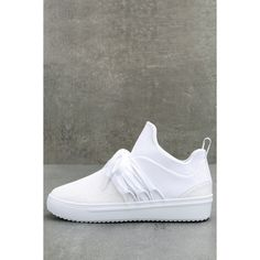 Lancer White Sneakers ($69) ❤ liked on Polyvore featuring shoes, sneakers, white, slip-on sneakers, lacing sneakers, white shoes, white slip on sneakers and laced up shoes