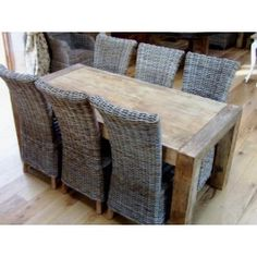 Stunning Reclaimed Elm Table (1.8m) With Six Natural Wicker Latifa Dining Chairs - Dining Set £1,870