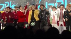With both male idol groups EXO and BTS promoting simultaneously this December for their respective albums, fans have spotted the friendly interaction between members. On the latest Inkigayo episode aired on December 20th, netizens pointed out the friendly exchange between Baekhyun and V during PSY's encore stage at the end.. -- the cutest Thang Eva