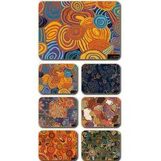 Aboriginal Design Desert Tracks placemats and coasters, set of 6