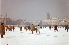Walking on Frozen Lake Zurich - Seegfoerni 1963 Lake Zurich, Believe In Magic, Winter Wonder, Walk On, Switzerland, Paris Skyline, Beautiful Places, The Incredibles, Frozen