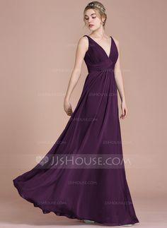 8105fb1144d Empire V-neck Floor-Length Chiffon Bridesmaid Dress With Ruffle (007105579)