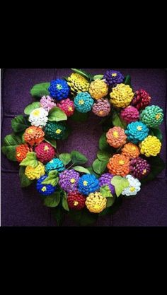 colourful pine cone wreath