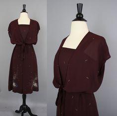 60ad89df110e25 vintage 70s Dark Burgundy Floral Disco Sun Dress with Bolero Wrap Jacket    Small Medium