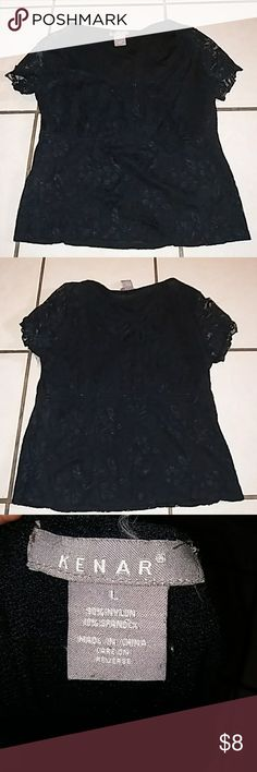 Kenar black lace top Light black lace top in great condition with hook front. Great for summer! Smoke free pet free home. Kenar Tops Blouses