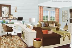 Notice the office/living space in a large room.  This arrangement would work very nicely in a basement or bonus room.