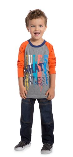 A super comfy long sleeve graphic tee for the little guy who is ready to rock out at any moment.
