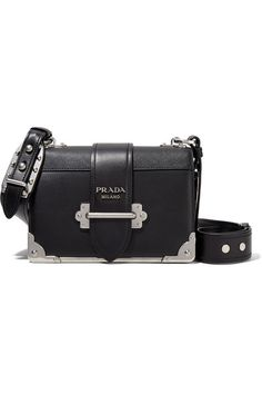 86a8b18231ff Prada - Cahier leather shoulder bag. Black smooth and textured-leather (Calf)  Tab-fastening front flap Comes with dust bag Weighs approximately Made ...
