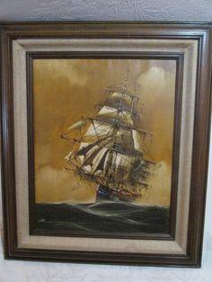 RENATO LONGONESI  Original Oil on Canvas  Nautical   #whytewing  #wallart  #originalart