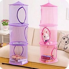 Hanging Mesh Storage Basket Toys Organizer 3 Compartments