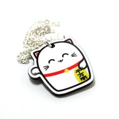 Lucky Cat Acrylic Charm Necklace on Silver Plated by TheTinyFig, $15.00