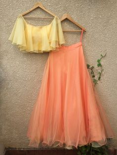 Yellow Off Shoulder Blouse & Peach Lehenga