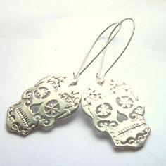Sugar Skull Earrings Silver Plated Long Dangle Boho Jewellery