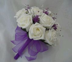 White Roses/Purple Accents