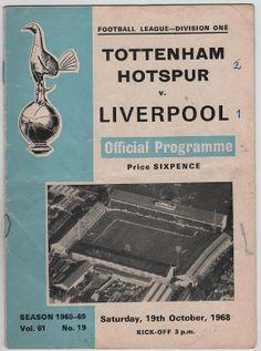 Vintage Football Programme - Tottenham Hotspur v Liverpool, 1968/69 season, by DakotabooVintage, £1.49
