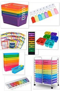 Everything you need for your rainbow theme classroom. Tons of inspiration to make the theme come to life!  These are perfect for preschool, kindergarten as well as the older students.  #classroomthemes Classroom Images, Classroom Jobs, Preschool Classroom, Classroom Organization, Classroom Decor, Rainbow Bulletin Boards, Cute Bulletin Boards, Teacher Cart, Rainbow Wall Decal