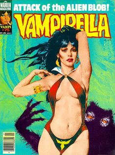 Vampirella, Issue 75 cover: I think this is my personal fave - photo collage with a Gonzales Vampi, an oil-swirl background and a very lovable creature thanks to my airbrush and it's splatter. The most expensive cover Warren ever produced, it was done entirely in B/W and I directed the colour separator (remember them?) in the colour-stripping (about: $3k in 1979 dollars)
