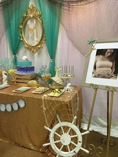 Jasmine T's Baby Shower / Mermaid themed baby shower - Photo Gallery at Catch My Party Shower Party, Baby Shower Parties, Baby Shower Themes, Baby Shower Decorations, Shower Ideas, Sea Decoration, Baby Shower Photos, Baby Shower Gender Reveal, Little Mermaid Baby