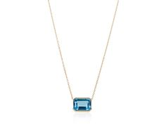 Swiss Blue Topaz Pendant set on 14k Gold chain - See the new designs at www.annaruthhenriques.com!