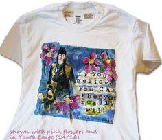 art tshirt teen girls mixed media inspirational by SchulmanArts, $36.00 tween teen gift idea,  hand painted tee shirt clothing