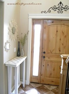 Narrow hallway decor solution! Cut a table in half and ...