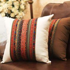 Thick Linen & Cotton Pillow Cover Case w/ Stripes Print & Patchwork