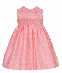 Anavini Girls Sleeveless Neon Pink Jacquard Dress - Smocked with Collar and Sash
