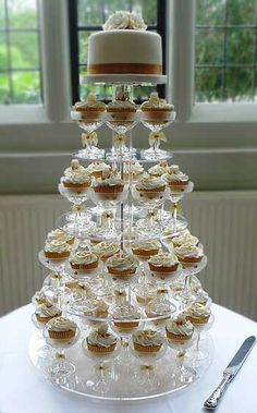 Cupcake tower display stand cocktail glasses