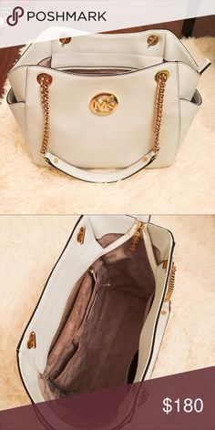 a51c5dd51a4 (With  100 free duffle) Authentic White MK Tote. Michael Kors ToteHandbags  ...
