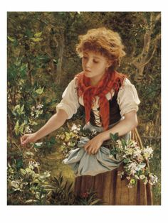Red Hair Bouquet  8x10 Print 1505 The Young Flower Girl by Sophie Anderson