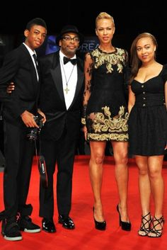 A Family Affair...son Jackson, Spike Lee, wife Tonya Lewis Lee & daughter Satchel