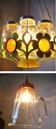 Más ejemplos de lámparas hechas con recipientes de vidrio