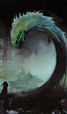 Concept art by Rob Bliss of a wand-conjured sea serpent during Voldemort and Dumbledore's duel in the Ministry of Magic.