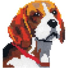 Connect four large square Perler pegboards to create this great beagle portrait. Look for the other dogs in this series-a Dalmatian, boxer, and shepherd! Perler Bead Designs, Perler Bead Art, Perler Beads, Beaded Cross Stitch, Cross Stitch Charts, Cross Stitch Designs, Cross Stitch Patterns, Pixel Art, Iron Beads