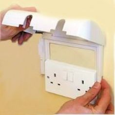 Simple Double Electric Socket Cover Protect Baby Toddler Safety Plastic Plug Box Home
