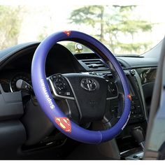 Superman Car Steering Wheel Cover UP leather Blue and Red only $28