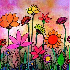 Garden at Dusk flowers art print on luster fine art paper flower art garden – Saida Piecuch – Art Art Floral, Paper Flower Art, Paper Flowers, Painting Flowers, Wood Flowers, Doodle Art, Art Fantaisiste, Op Art, Flower Doodles