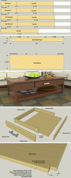 DIY Coffee Table with Storage | This coffee table offers great looks plus storage. It's made from sold wood, and is a great project to challenge yourself with. You can build it from a hardwood like oak, or choose poplar and stain it. The details on the top, shelf, and drawer look great, and are easy to create with a router. Get the free DIY plans at buildsomething.com