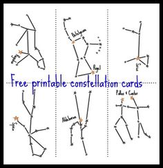 Free printable constellation cards for learning about stargazing with kids